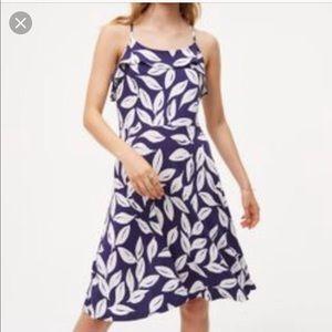 LOFT leafy ruffle flare dress
